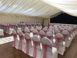 seating prepared for wedding venue Westbury