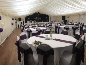 tables prepared for country park wedding Wiltshire