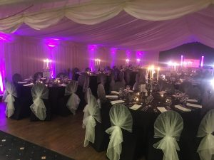 evening reception prepared for wedding venue Westbury