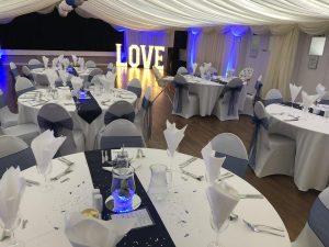 love sign at wedding venue Westbury