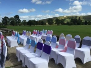 chairs ready for outdoor country park weddings wiltshire