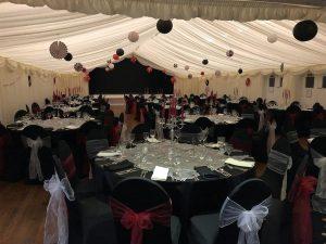 black tables at wedding venue Westbury