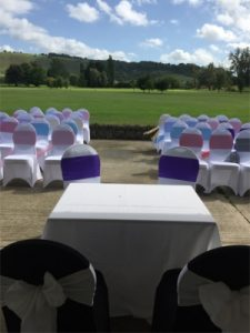 country park weddings Wiltshire with a green fairway in the background