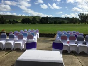 wedding venue with golf course in background Westbury