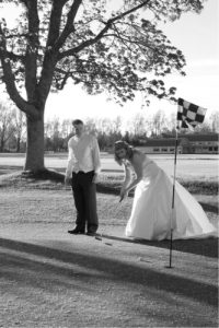 couple playing golf wedding venue Westbury