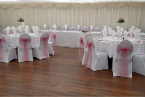 backdrop and tables for wedding venue Westbury