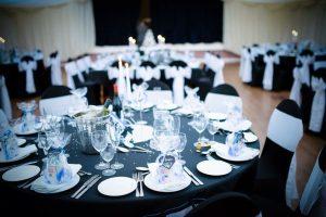 prepared reception tables wedding venue Westbury