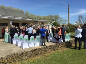 crowd celebrating wedding venue westbury
